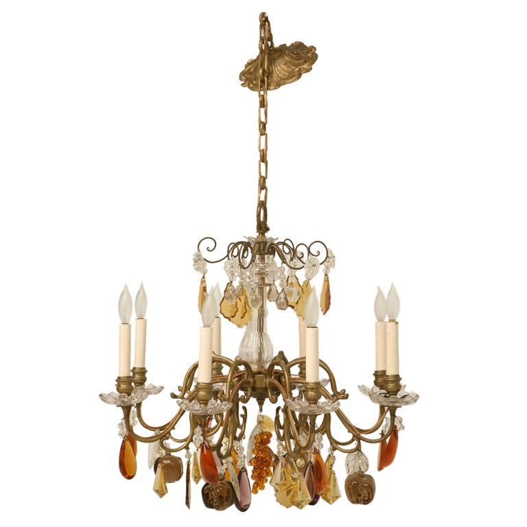 c.1930 Bronze 8 Light Fruit Chandelier
