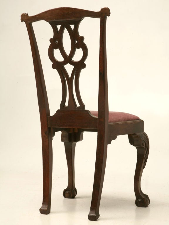 Eighteenth Century Hand Carved Irish Chippendale Side Desk Chair For Sale At