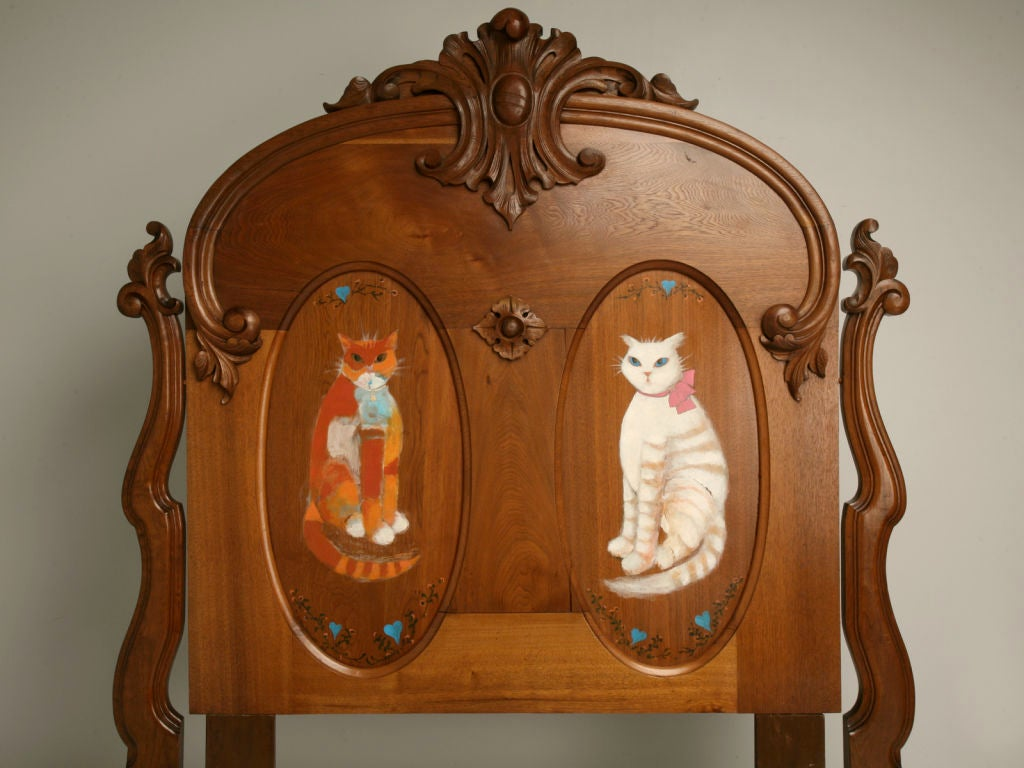c.1880 American Victorian Folk Art Bed w/ Hand-Painted Cats In Good Condition For Sale In Chicago, IL