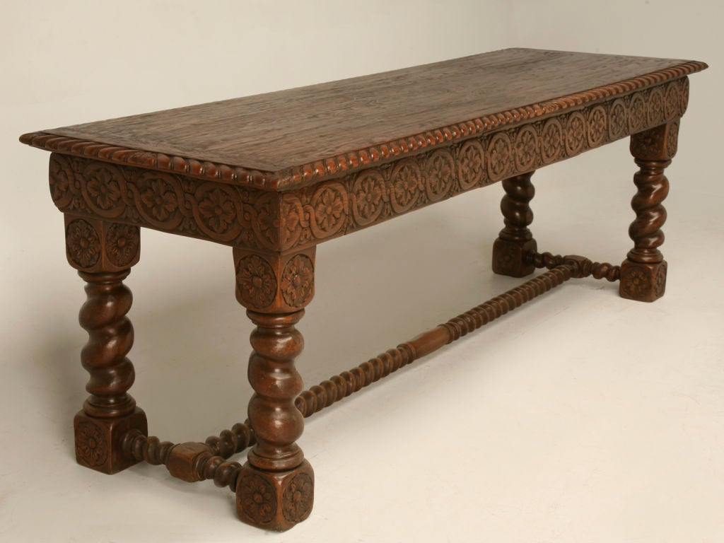 C hand carved spanish oak console table at stdibs
