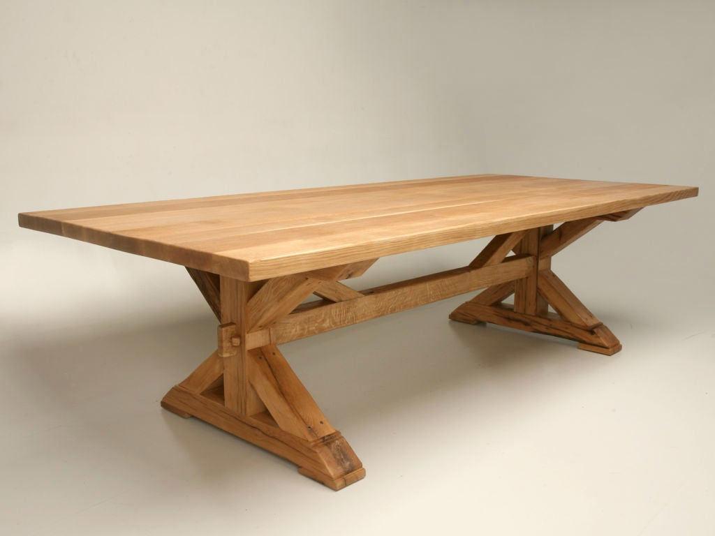 Custom Handcrafted Solid White Oak Trestle Based Farm Table at 1stdibs