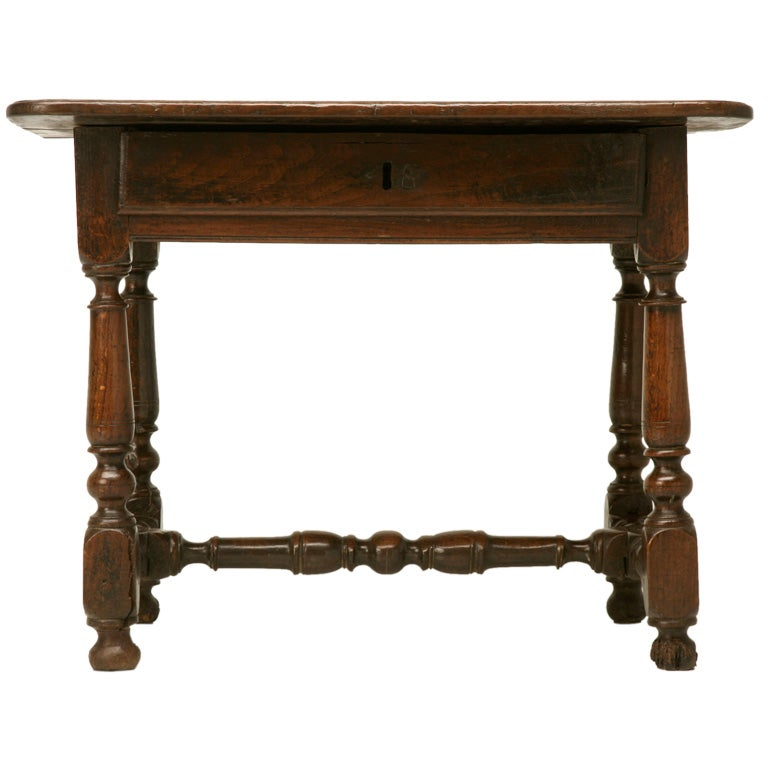 18th c rustic french oak farmhouse side end writing table for C table with drawer