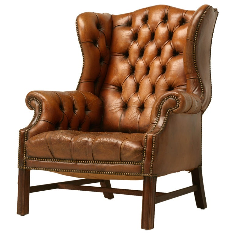 English chippendale tufted leather wing back chair for English chair design