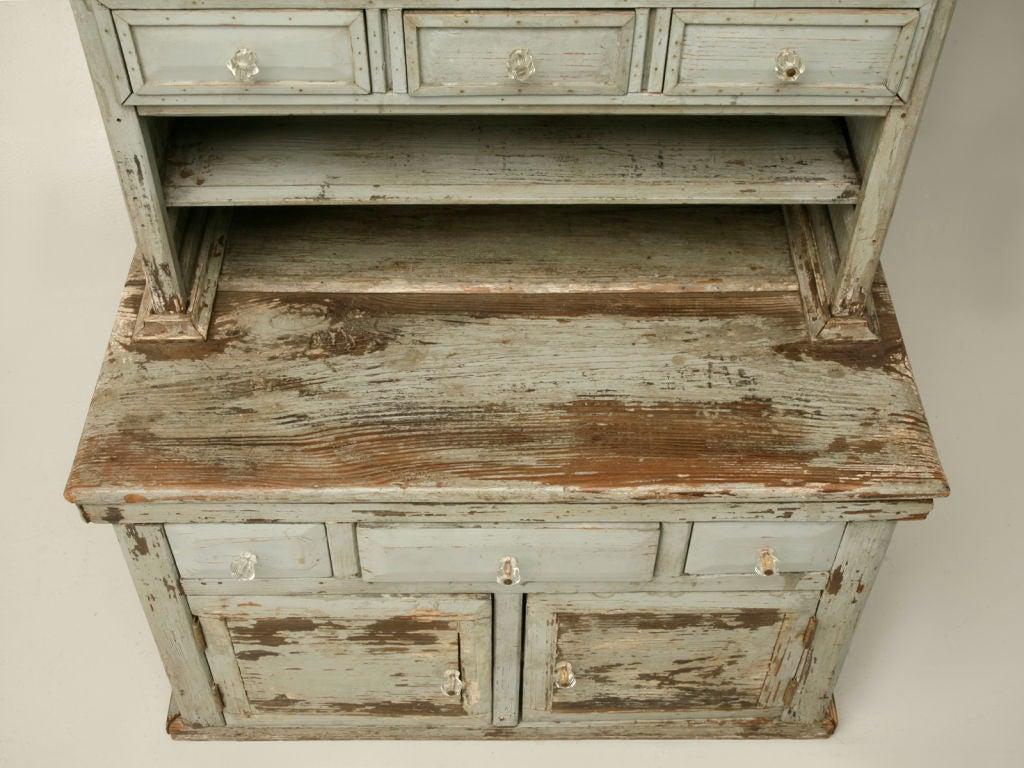 20th Century Miniature American Pine Original Paint Child's Cupboard For Sale