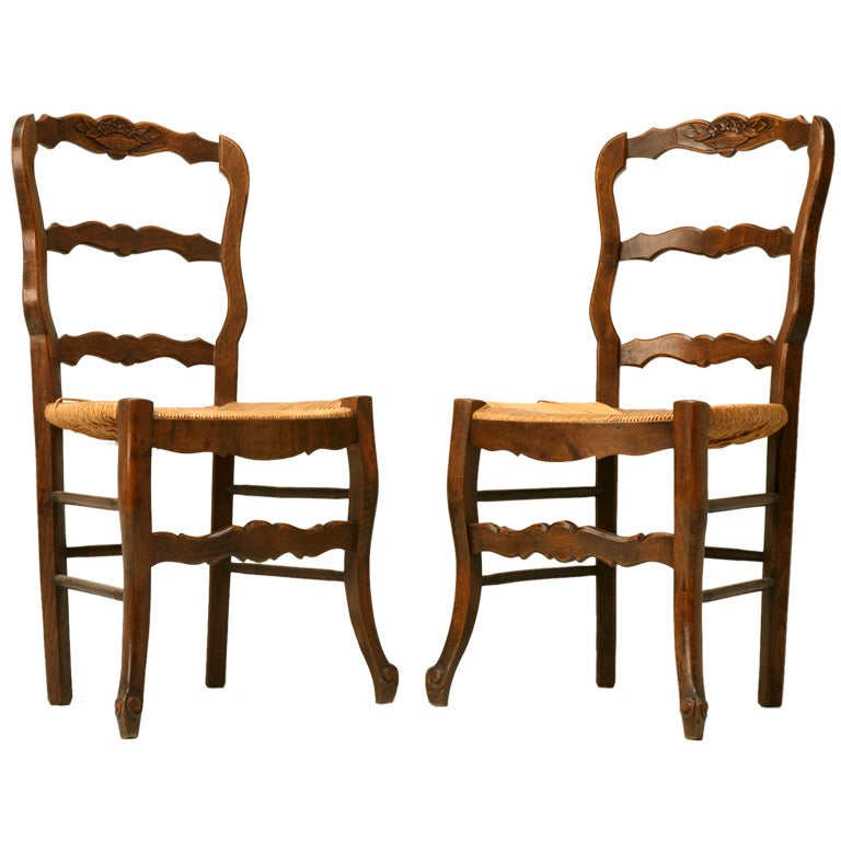 C 1930 Pair Of Country French Ladder Back Side Chairs At