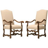 c.1930 Pair French Os de Mouton Throne Chairs