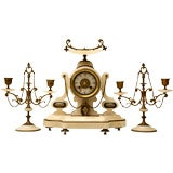 c.1890 French Japy Freres 3 pc Onyx & Brass Clock Set