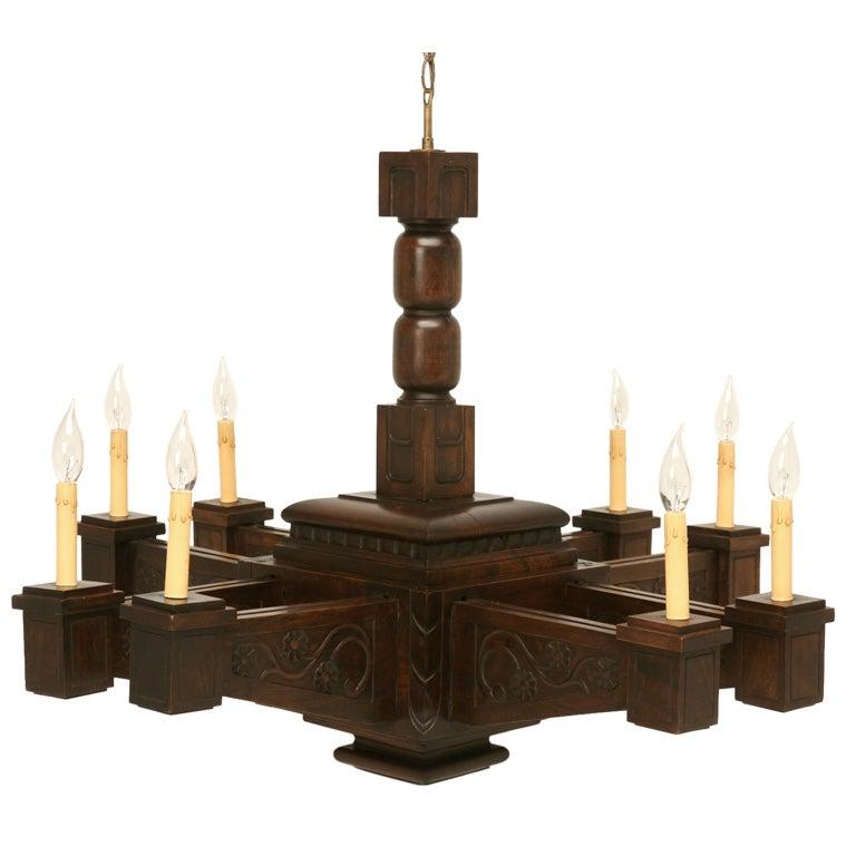 Antique Large Hand Carved Walnut Mission or Arts and Crafts Chandelier For Sale