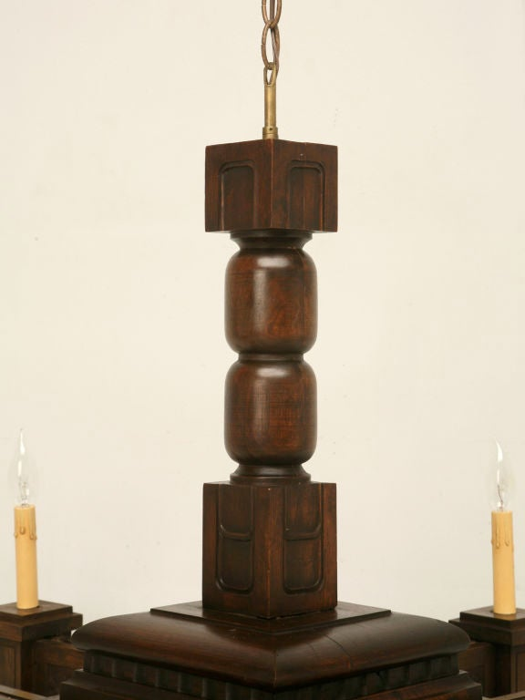 French Antique Large Hand Carved Walnut Mission or Arts and Crafts Chandelier For Sale