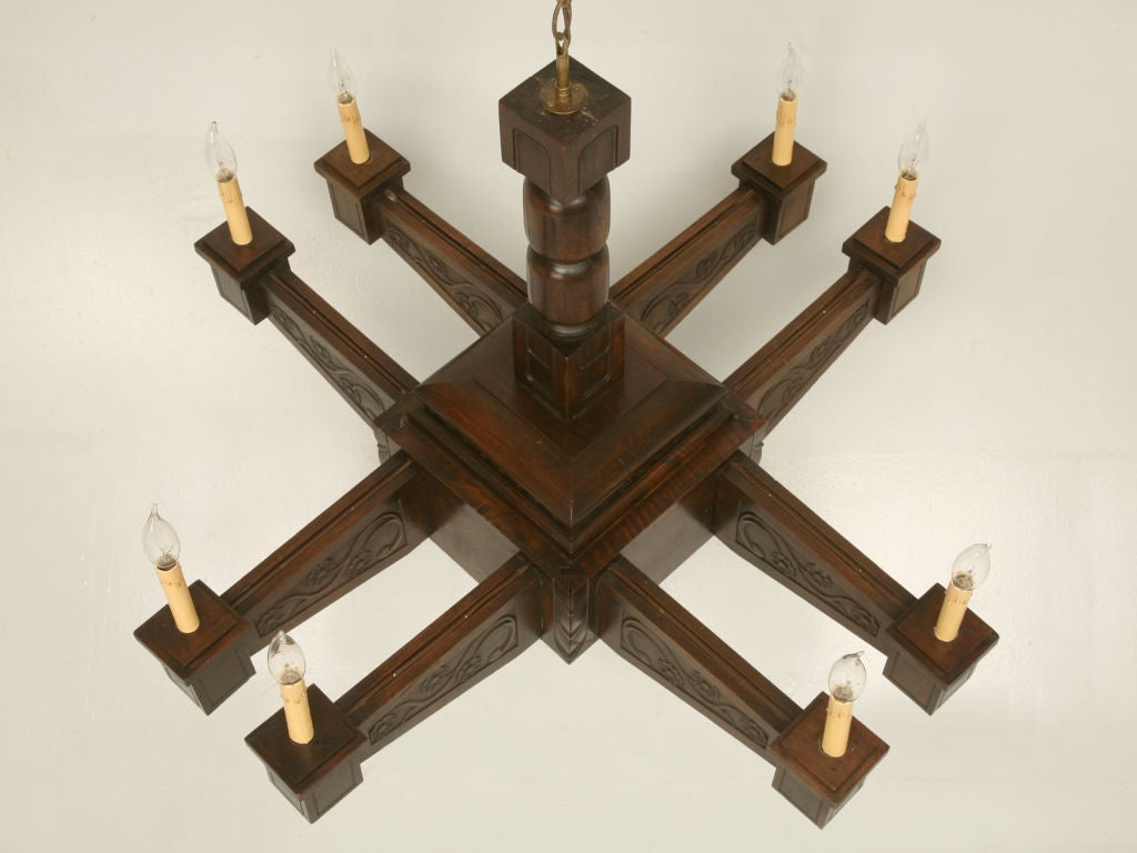 Antique Large Hand Carved Walnut Mission or Arts and Crafts Chandelier In Good Condition For Sale In Chicago, IL