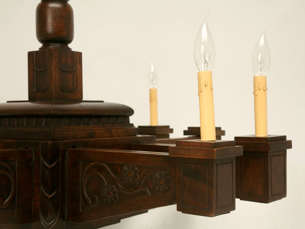 20th Century Antique Large Hand Carved Walnut Mission or Arts and Crafts Chandelier For Sale