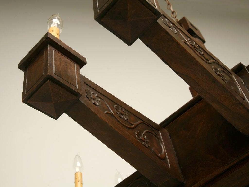 Antique Large Hand Carved Walnut Mission or Arts and Crafts Chandelier For Sale 5