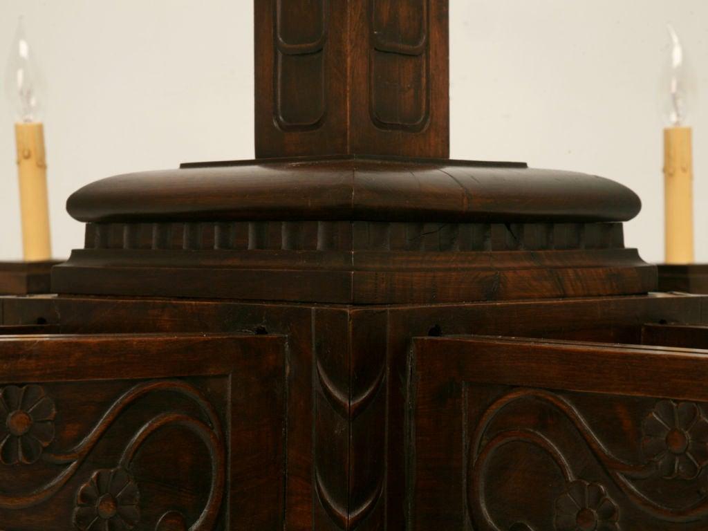 Antique Large Hand Carved Walnut Mission or Arts and Crafts Chandelier For Sale 2