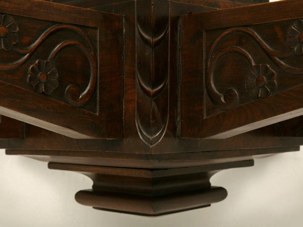 Antique Large Hand Carved Walnut Mission or Arts and Crafts Chandelier For Sale 3
