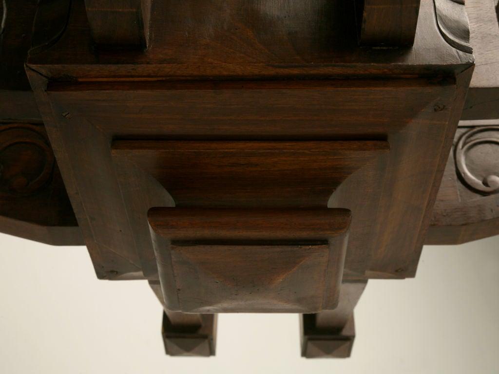 Antique Large Hand Carved Walnut Mission or Arts and Crafts Chandelier For Sale 4