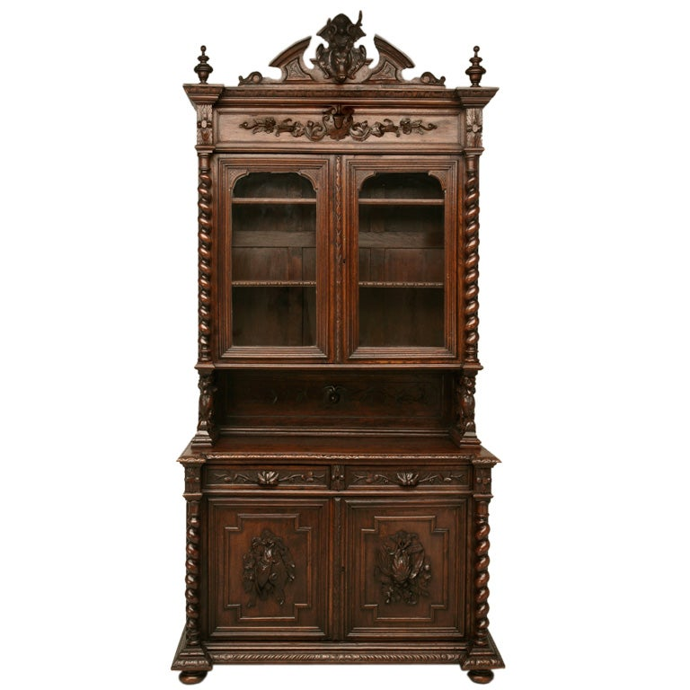 French hand carved oak hunt cabinet at 1stdibs for 1880 kitchen cabinets