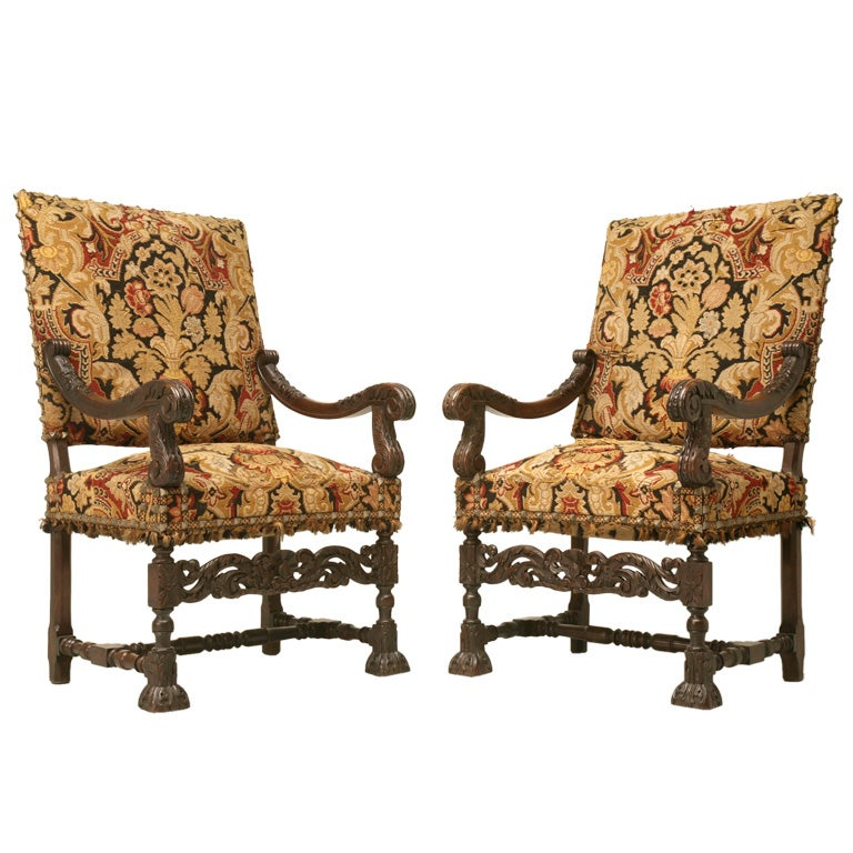 antique pair of hand carved french white oak throne chairs