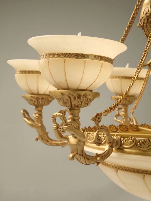 Reproduction 12 Light Alabaster And Brass Chandelier At