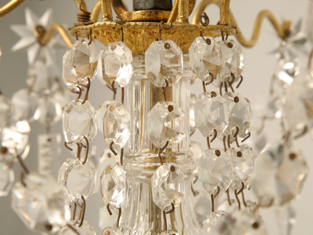 C 1940 French Baccarat Style 6 Light Crystal Chandelier At