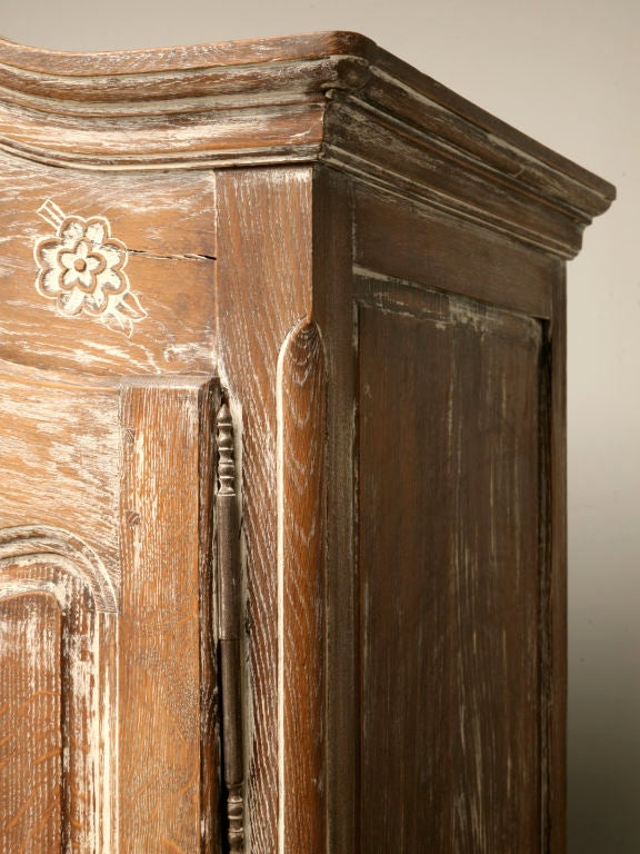 C french whitewashed oak louis xv armoire at stdibs