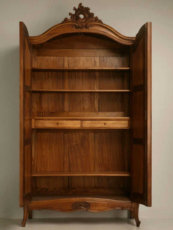 french louis xv walnut armoire w art nouveau influences at 1stdibs. Black Bedroom Furniture Sets. Home Design Ideas
