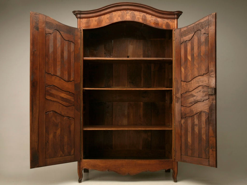 Cherry Wood Armoire ~ Antique french oystered and chevron cherry wood louis xv