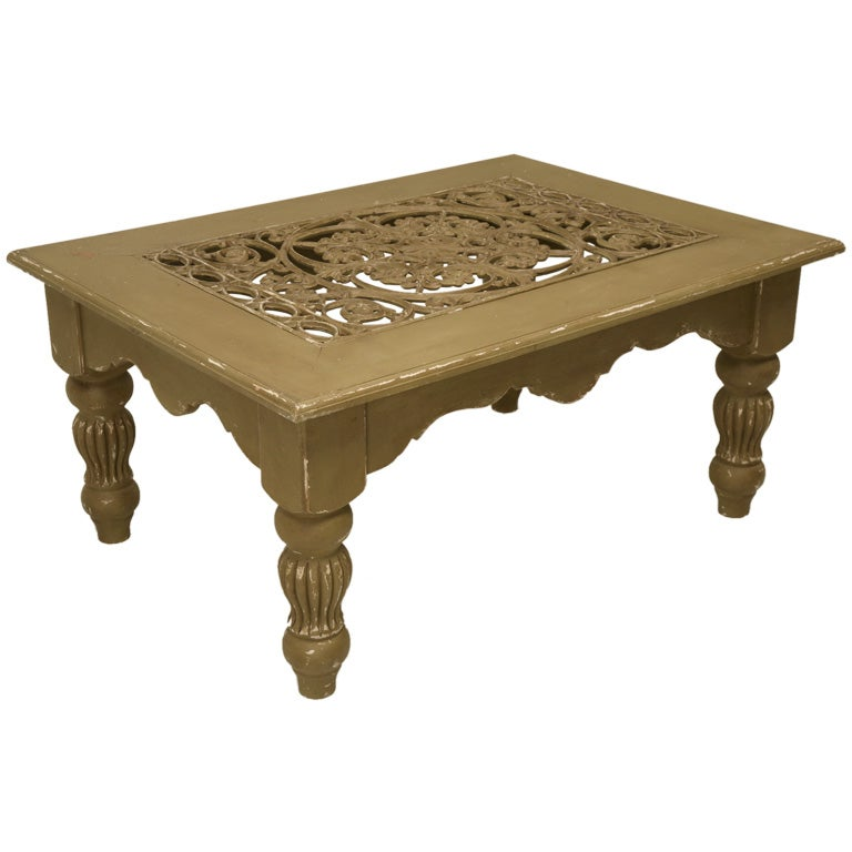Rustic painted coffee table at 1stdibs One of a kind coffee tables