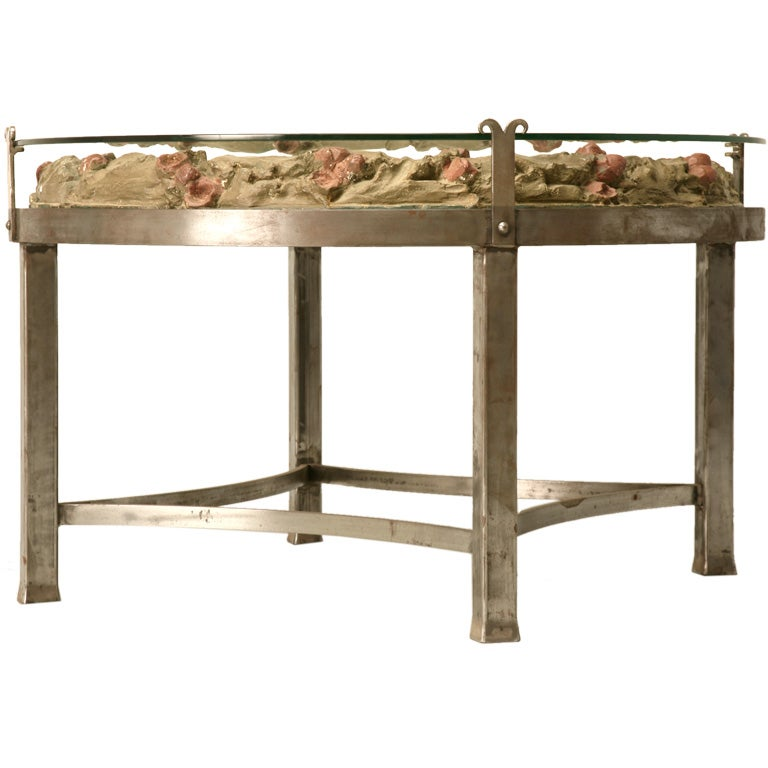 English Plaster Relief Coffee Table W Iron Base At 1stdibs