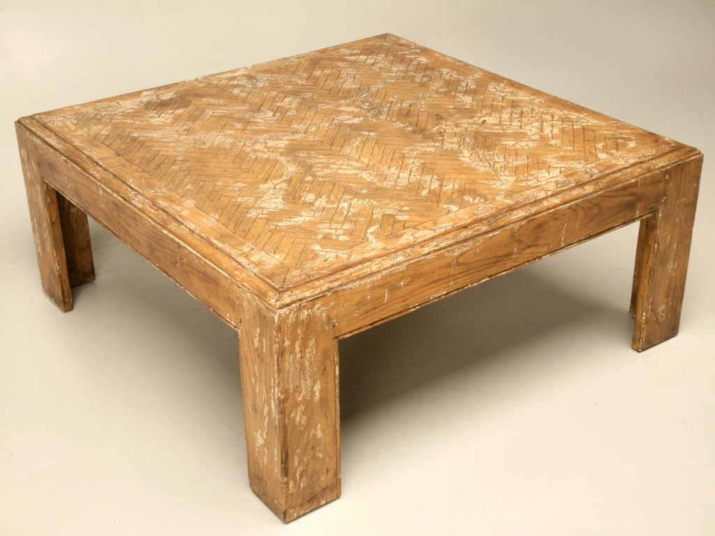 Square Oak Herringbone Coffee Table At 1stdibs