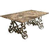 Absolutely Incredible Antique Italian Marble & Iron Dining Table