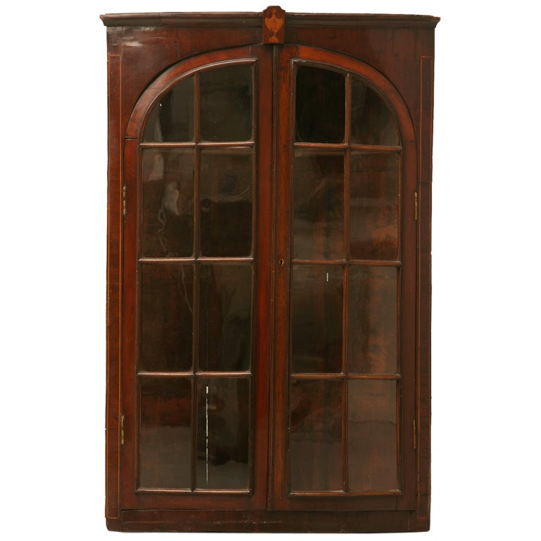 Antique English Georgian Mahogany Glazed Corner Cabinet For Sale - Antique English Georgian Mahogany Glazed Corner Cabinet For Sale
