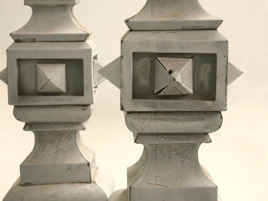 Pair of zinc architectural roof top spire form finials at