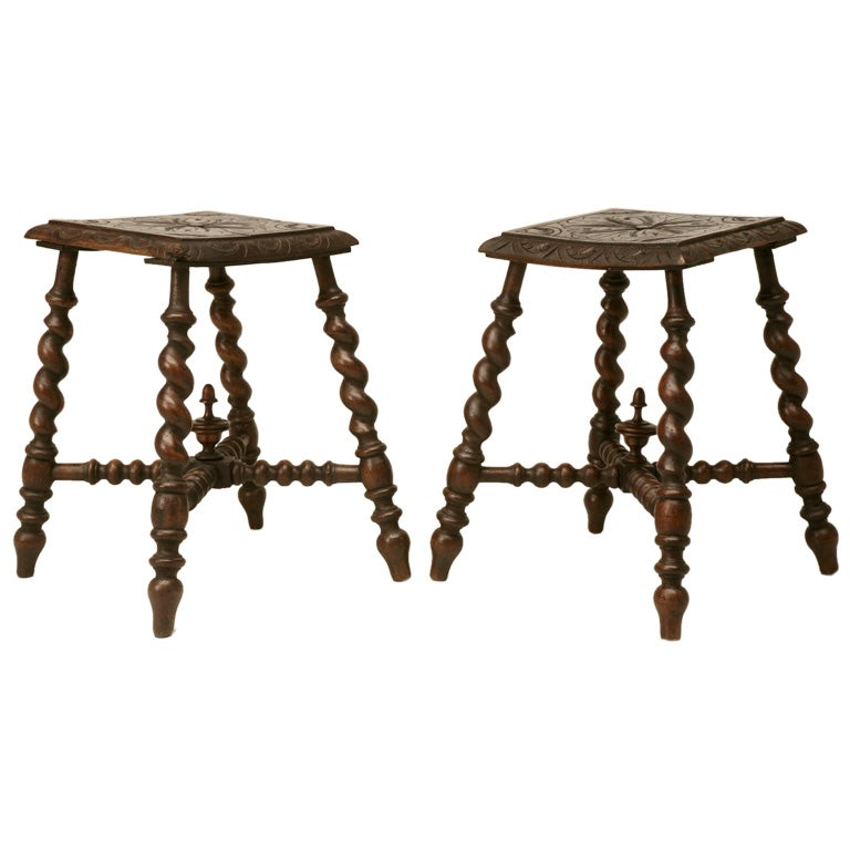 C 1880 Pair Of French Hand Carved Oak Stools At 1stdibs