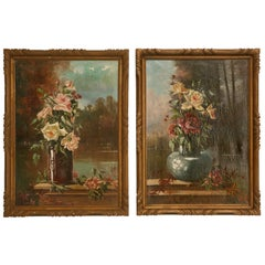 French Oil Paintings circa 1928 Pair of Rose Still Life's in Original Frames