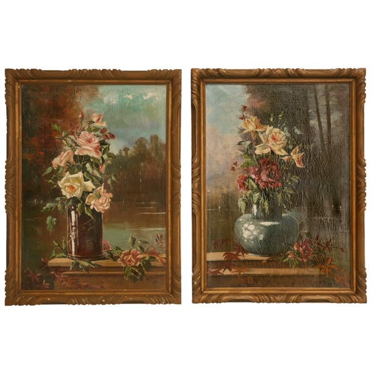 French Oil Paintings circa 1928 Pair of Rose Still Life's in Original Frames For Sale
