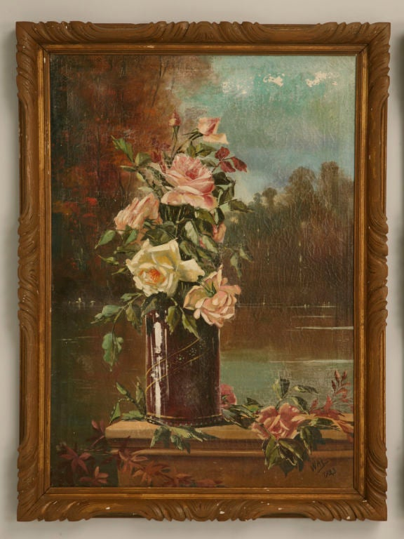 Antique French oil paintings in their original frames. As natural as it gets, this amazing pair of old country rose French oil paintings are astounding, they appear as though you could reach right over and pick one. It is difficult to fathom a pair
