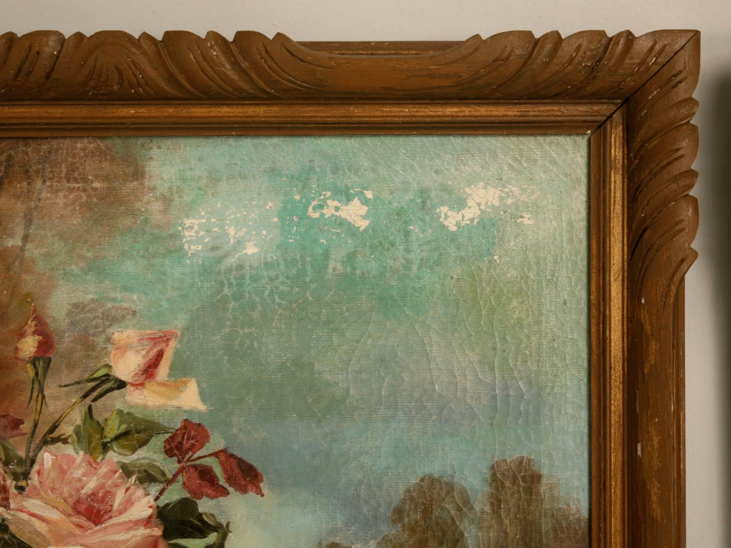 Hand-Painted French Oil Paintings circa 1928 Pair of Rose Still Life's in Original Frames For Sale