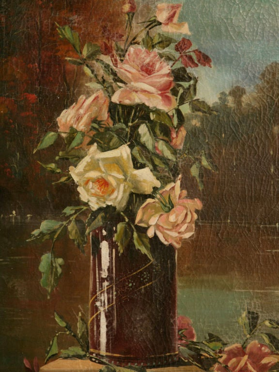 French Oil Paintings circa 1928 Pair of Rose Still Life's in Original Frames In Good Condition For Sale In Chicago, IL