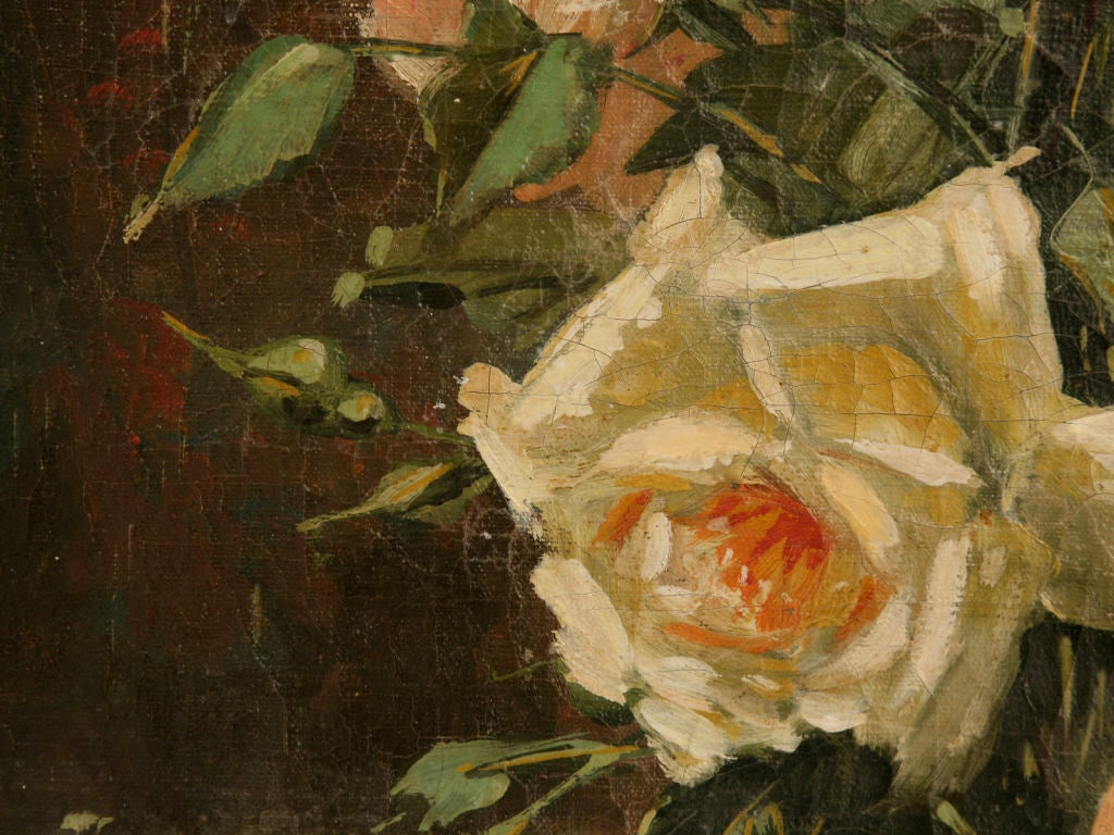 20th Century French Oil Paintings circa 1928 Pair of Rose Still Life's in Original Frames For Sale