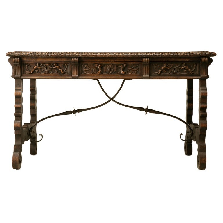 C 1870 Hand Carved Spanish Fruitwood Lyre Leg Desk At 1stdibs