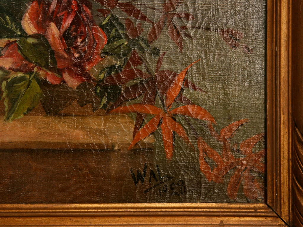 French Oil Paintings circa 1928 Pair of Rose Still Life's in Original Frames For Sale 4