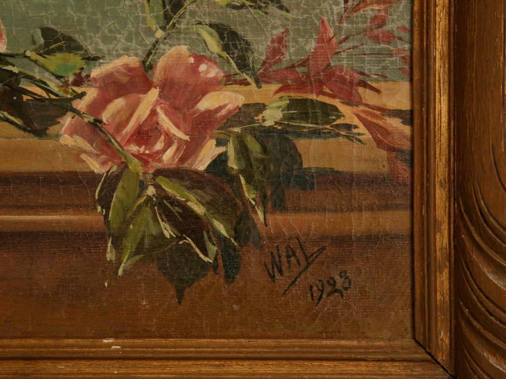 Canvas French Oil Paintings circa 1928 Pair of Rose Still Life's in Original Frames For Sale