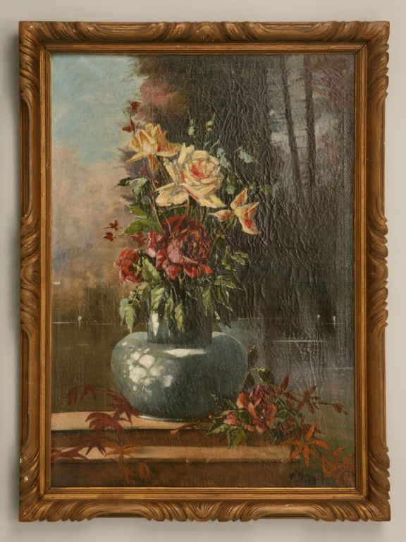 French Oil Paintings circa 1928 Pair of Rose Still Life's in Original Frames For Sale 2