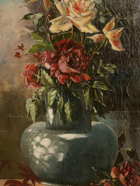 French Oil Paintings circa 1928 Pair of Rose Still Life's in Original Frames For Sale 3