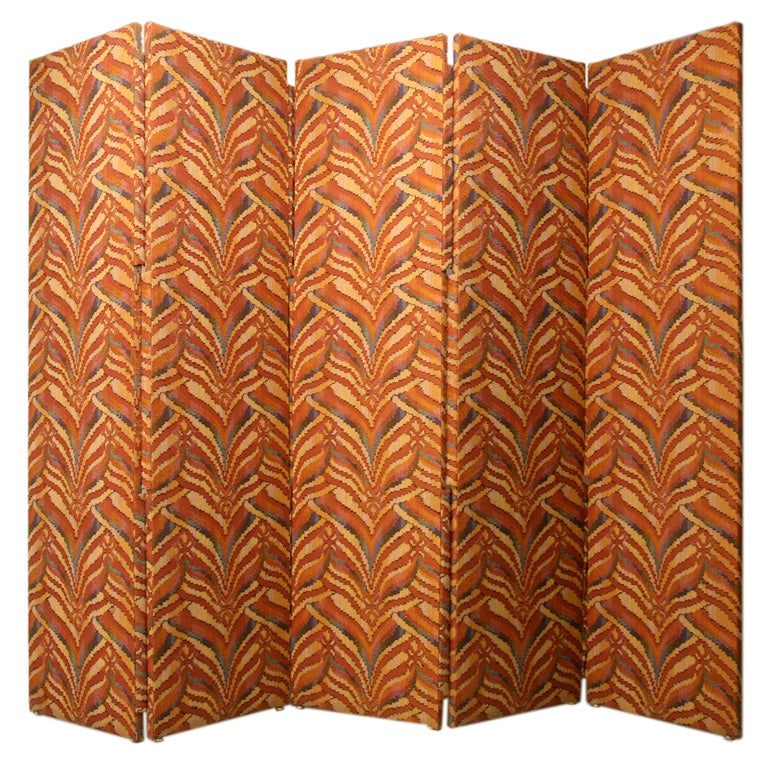Custom 5 Panel Upholstered Floor Screen/Room Divider For Sale