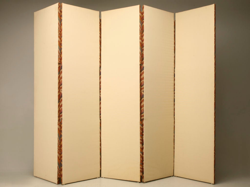 Custom 5 Panel Upholstered Floor Screen/Room Divider For Sale 5