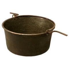 c. 1840 Large Handmade French Copper Cauldron