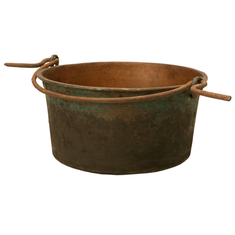 c.1840 Large Handmade French Copper Cauldron For Sale