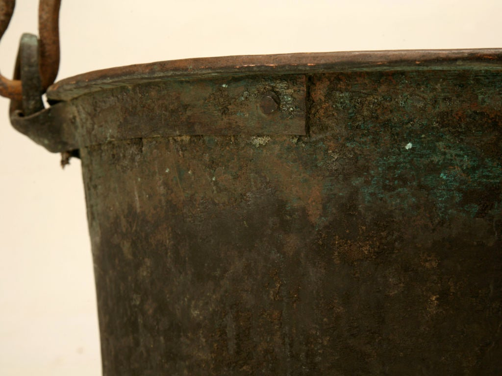 c.1840 Large Handmade French Copper Cauldron For Sale 4