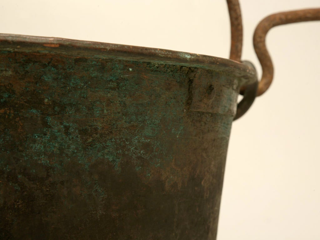 c.1840 Large Handmade French Copper Cauldron For Sale 5